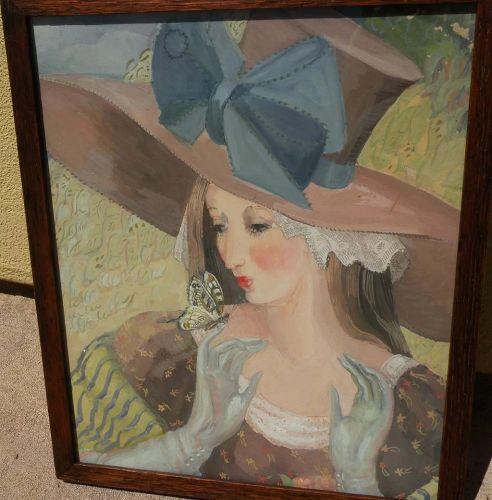 MARGO ALEXANDER (1894-1965) mid century modern painting of lady
