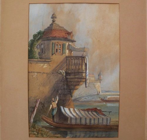 Antique 19th century Eastern European watercolor of house by a waterway