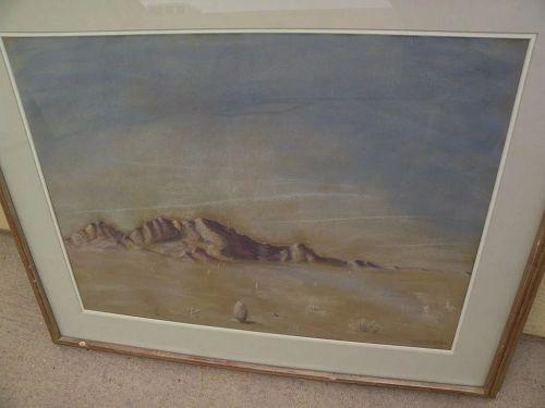 BETH MACLAFFERTY BLAKE (1901-1993) desert landscape pastel drawing by listed Southwest artist