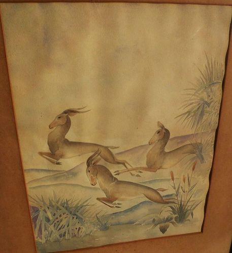 Art Deco inspired vintage watercolor painting of gazelles
