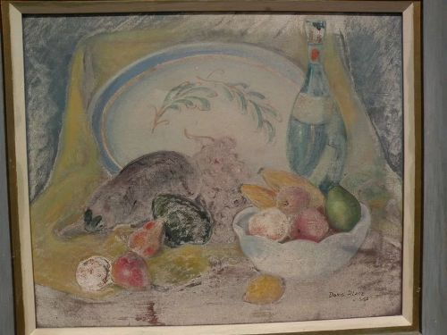Impressionist American 1956 signed still life painting of fruit