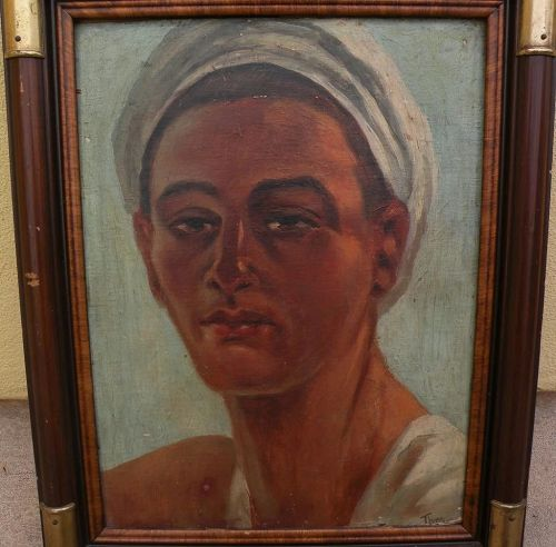 Orientalist art signed circa 1915 painting of young Egyptian man