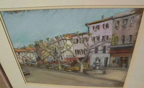 Pastel drawing of French street with outdoor tables dated 1986