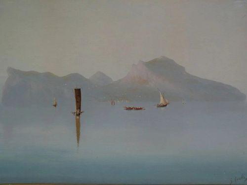 GIUSEPPE CORELLI (1858-1921) large gouache painting of Italian coastal scenery Island of Capri