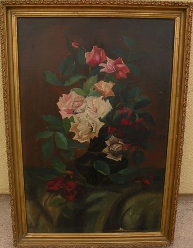Vintage still life painting roses in vase