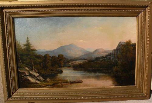 JOHN WHITE ALLEN SCOTT (1815-1907) American art Hudson River style antique landscape painting