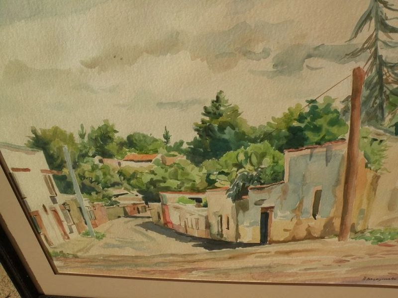 Impressionist watercolor painting leafy street possibly in Spain