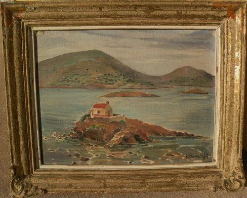 Signed Greek art impressionist painting of coastal islands