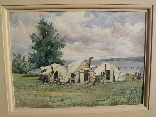 19th century American watercolor coastal camp with African-American figures