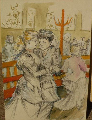 Signed watercolor and pencil drawing of women after Grosz and Toulouse Lautrec