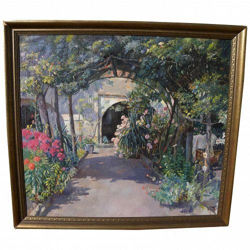 JOSE SANZ Y ARIZMENDI (1885-1929) impressionist 1928 painting of Swiss garden by well listed Spanish artist