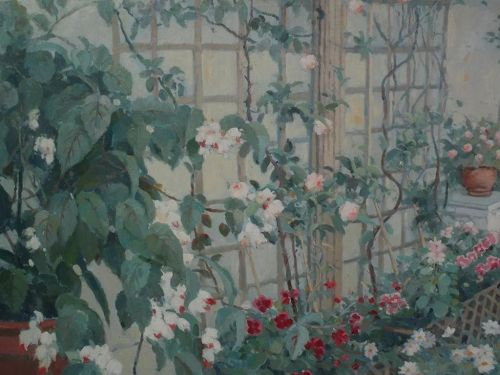 Impressionist signed contemporary painting of a garden trellis and patio