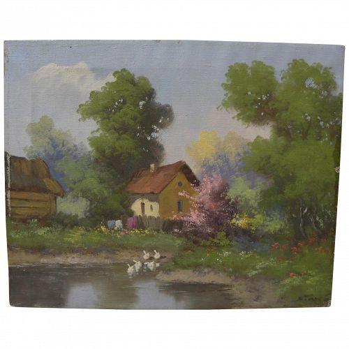 KAROLY SINKA (1934-) Hungarian art impressionist spring landscape painting in style of Laszlo Neogrady