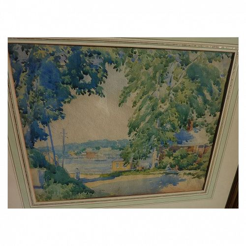 HARRY DeMAINE (1880-1951) fine American watercolor painting of Cape Ann landscape dated 1920