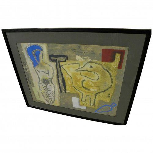 YAMANDU CANOSA (1954-) contemporary mixed media painting by noted Uruguayan artist
