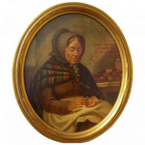CHARLES C. MARKHAM (1837-1907) American genre painting of lady street vendor