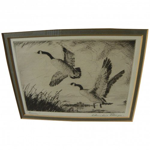 CHURCHILL ETTINGER (1903-1984) pencil signed etching of water fowl rising from marsh