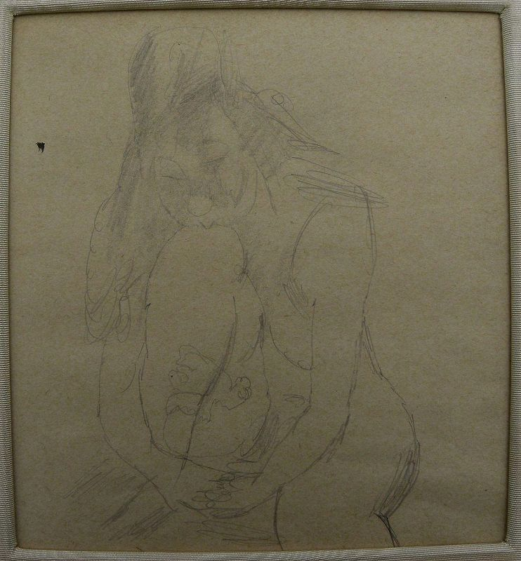JULES PASCIN (1885-1930) pencil drawing of nude woman by famous Montparnasse artist