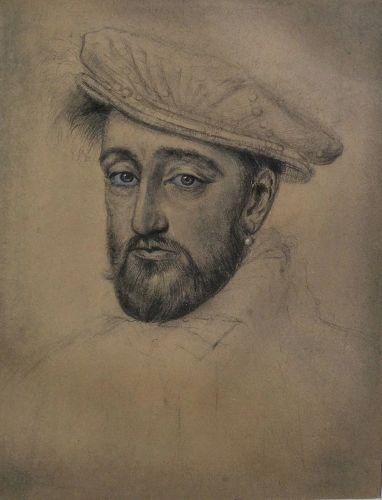 Old drawing of Elizabethan era man wearing beret