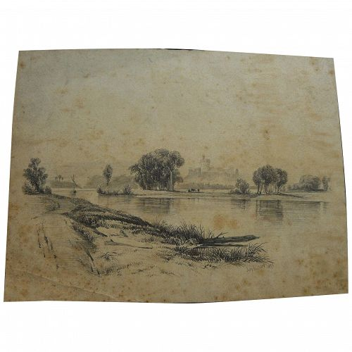 JAMES MACDOUGAL HART (1828-1901) pencil landscape 1855 drawing of Windsor Castle and Thames by the noted American Hudson River School artist