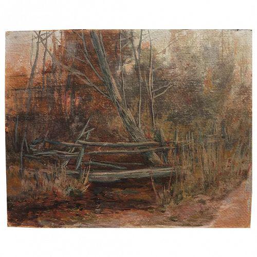 ELIZABETH HUNT BARRETT (1863-1955) impressionist gouache painting by Virginia artist