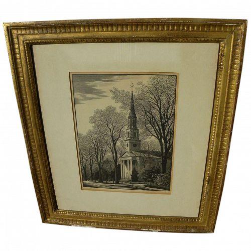THOMAS NASON (1889-1971) original fine wood engraving Old Lyme Church pencil signed print dated 1956