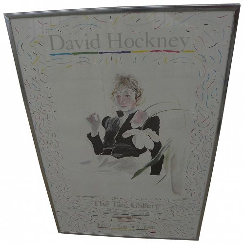 "DAVID HOCKNEY (1937-) original 1980 poster for Tate Gallery exhibition ""Travels with Pen, Pencil and Ink"""