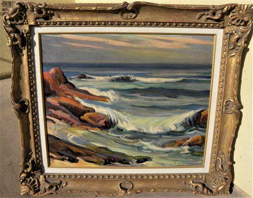 """CHRISTIAN VON SCHNEIDAU (1893-1976) California plein air art seascape painting """"Laguna Waves"""""""