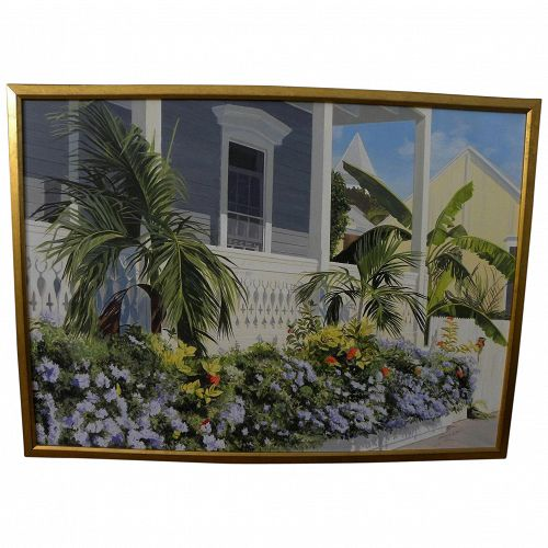 """JEANETTE CHUPACK (American contemporary) large realism painting """"Key West Porch Garden"""""""