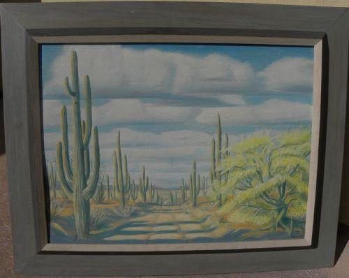 Arizona vintage signed painting saguaro desert cactus landscape