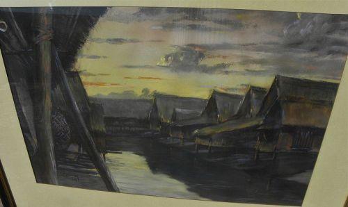 Filipino art vintage 1939 pastel Philippines scene signed Lohmann