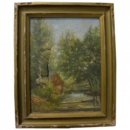 GEORGE EUGENE SCHROEDER (1865-1935) as-is small painting of Idaho mountain cabin