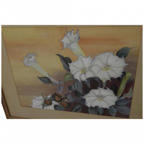ELSIE STEWART KIMBERLY (1882-1966) still life painting of white trumpet flowers by noted San Diego artist