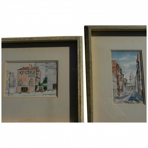 PAIR San Francisco 1960's watercolor paintings of familiar scenes