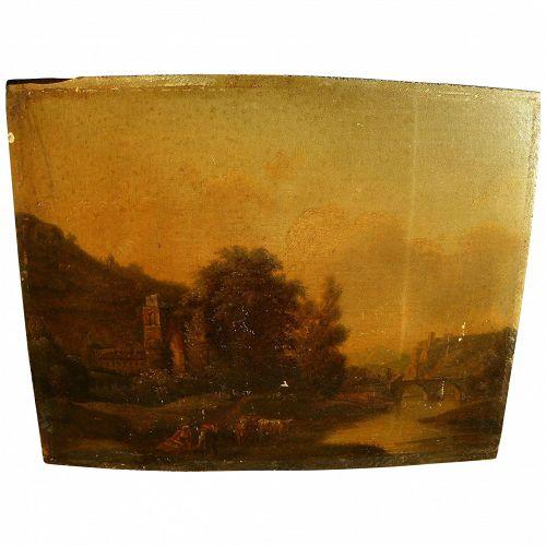 Old Master antique European landscape painting on oak wood panel