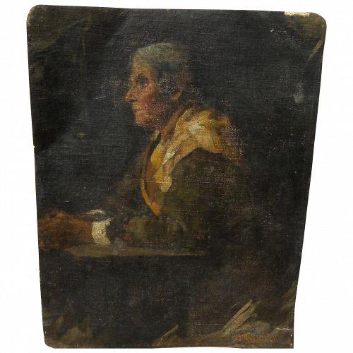 CESARE VIANELLO 19th century Italian oil painting of pensive lady in an interior