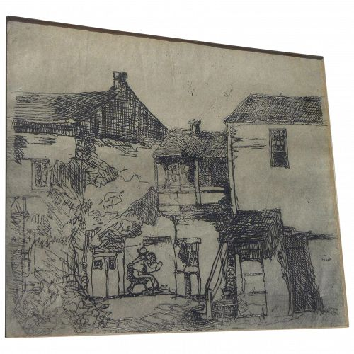 "AUGUST GAY (1890-1948) rare etching ""Stevenson House"" Monterey by important California artist"