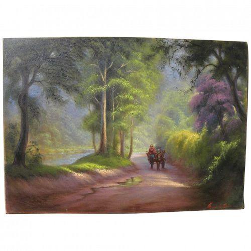 Filipino art impressionist landscape painting of forest road signed Fernando Danni