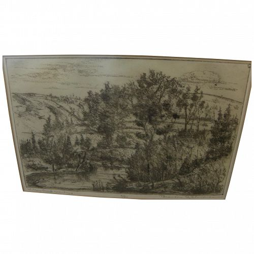 """BRANSON STEVENSON (1901-1989) etching """"Willow Creek Country"""" by noted Montana artist"""