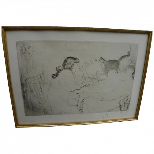 """LOUIS LEGRAND (1863-1951) drypoint etching """"Chattes"""" 1909 limited edition signed"""