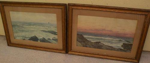 American marine art PAIR of 19th century watercolor coastal landscape paintings