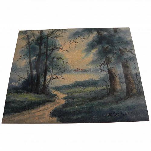 EDWARD SITZMAN (1874-1949) impressionist autumn landscape painting by noted Indiana artist