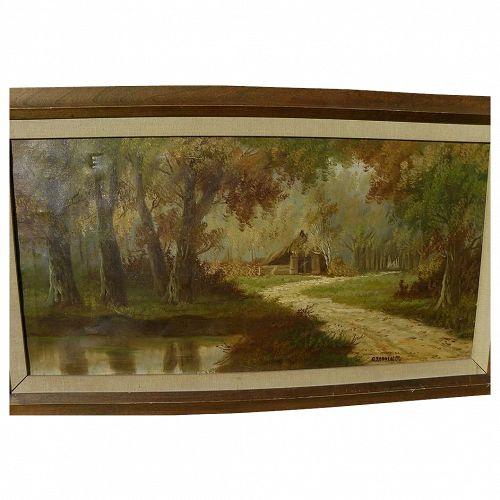 Mid-century European autumn landscape painting signed