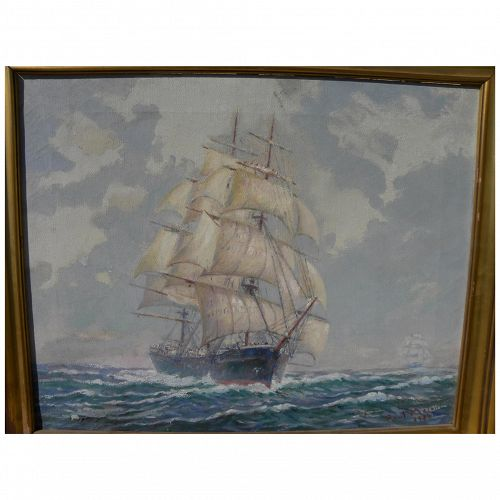 American clipper ship 1936 painting signed PAUL MASON