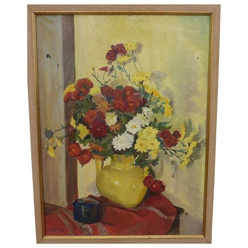 American impressionist painting of flowers in a vase signed Betty Way