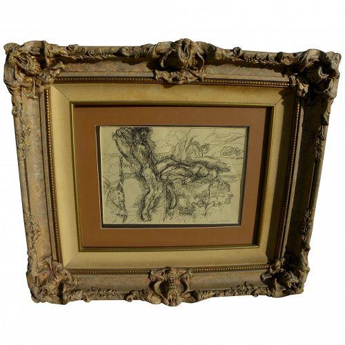 WILLIAM LYBERIS (1931-) signed nicely framed fine ink drawing of Biblical figures by Nebraska artist
