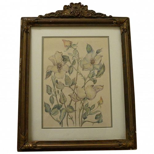 Floral still life drawing signed with initials dated 1944