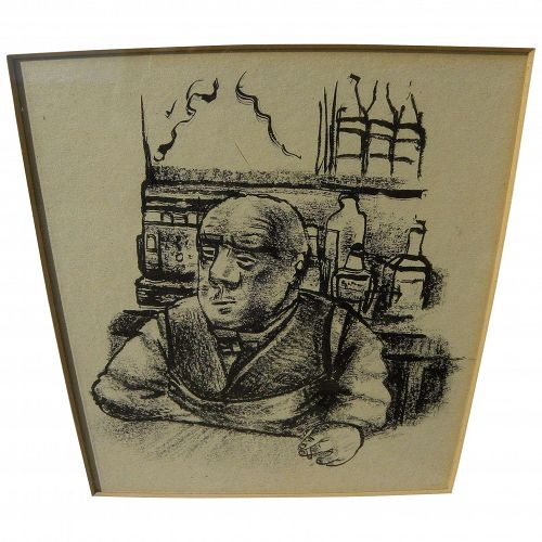 Mid Century ink drawing of a man in style of Ben Shahn or German Expressionists