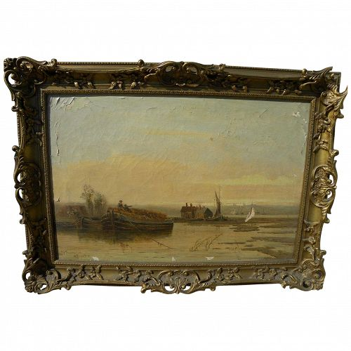 English 19th century signed landscape painting of Kent, needs restoration