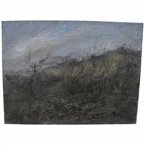 Italian or French mid-century modern landscape signed dated 1953